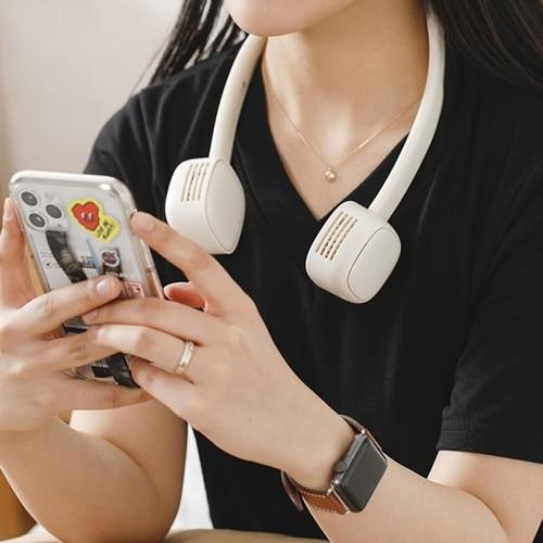 [쿠폰가:16,500원] 단풍나무 넥밴드 휴대용 선풍기 에어써큐 2000mAh 듀얼팬 abc-0020