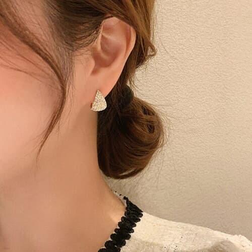 도울 골드 큐빅 반달 레이어드 패션 여성 귀걸이