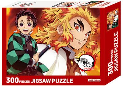 극장판 귀멸의 칼날 무한열차편 직소 퍼즐 300피스 : 렌고쿠와 탄지로