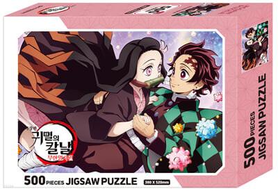 극장판 귀멸의 칼날 무한열차편 직소 퍼즐 500피스 : 탄지로와 네즈코