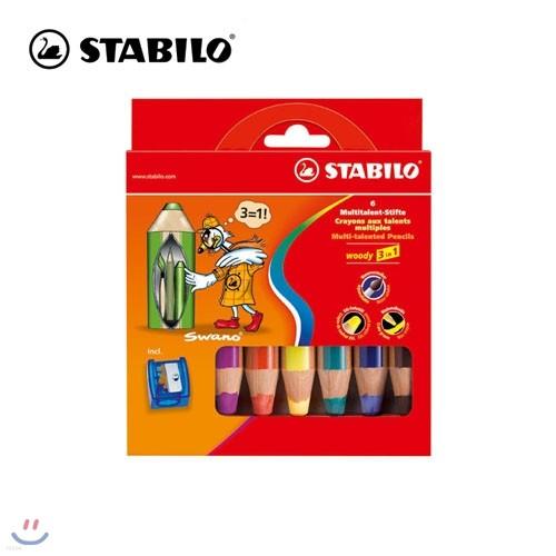 [STABILO] 스타빌로 우디 Woody 3 in 1 색연필 6C세트 (샤프너포함)