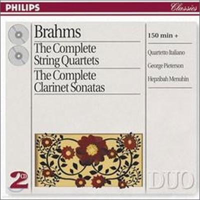 Brahms : The Complete String QuartetsㆍClarinet Sonatas : Quartetto ItalianoㆍHepzibah MenuhinㆍGeorge Pieterson
