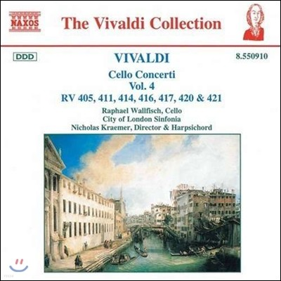 Raphael Wallfisch 비발디: 첼로 협주곡 4집 (Vivaldi: Cello Concertos Vol.4 - RV405, 411, 414, 416, 417, 420 & 421)