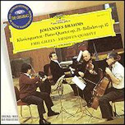 브람스 : 피아노 사중주 1번, 발라드 (Brahms : Quartets for Piano and Strings No.1 in G minor Op.25, Ballades for Piano Op.10/1 in D minor 'Edward') - Emil Gilels