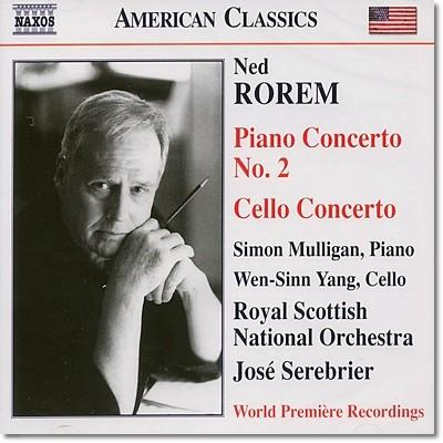 Jose Serebrier 로렘: 피아노 협주곡 2번, 첼로 협주곡 (Ned Rorem: Piano & Cello Concerto)