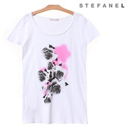 스테파넬/Rose Print Long T-shirt (S52AS008)