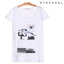 스테파넬/Flower Cotton T-shirt (S52AS015)