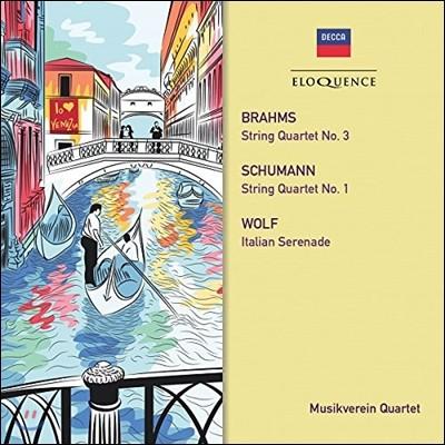 Musikverein Quartet 브람스: 현악 사중주 3번 / 슈만: 사중주 1번 / 휴고 볼프: 이탈리아 세레나데 (Brahms / Schumann: String Quartets / Hugo Wolf: Italian Serenade) 무지크페라인 콰르텟