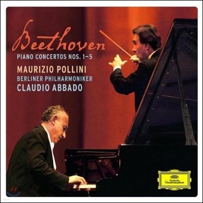 Maurizio Pollini / Claudio Abbado 베토벤: 피아노 협주곡 전곡집, 삼중 협주곡 - 폴리니, 아바도 (Beethoven: Piano Concertos 1-5, Triple Concerto)