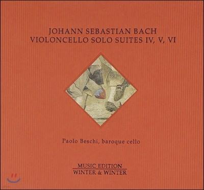 Paolo Beschi 바흐: 무반주 첼로 모음곡 4 5 6번 (Bach: Suites For Violoncello Solo No.BWV 1010 1011 1012) 파올로 베스키