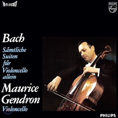 Maurice Gendron 바흐: 무반주 첼로 모음곡 전곡집 - 모리스 장드롱 (J.S. Bach: Complete Suite for Solo Cello BWV1007-1012) [3 LP]