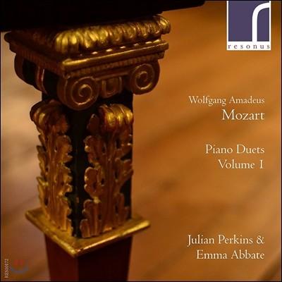 Julian Perkins / Emma Abbate 피아노 듀엣 1집 - 모차르트: 두 대의 피아노를 위한 소나타 K.358, K381, K521 / J.C. 바흐: 소나타 A장조 (Piano Duets, Vol.1 - Mozart / J.C. Bach ) 에마 아바테, 줄리언 퍼킨스