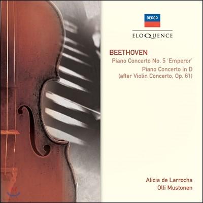 Alicia de Larrocha / Olli Mustonen 베토벤: 피아노 협주곡 '황제' 외 (Beethoven: Piano Concerto No.5 'Emperor', Piano Concerto in D Major Op.61) 알리샤 데 라로차, 울리 무스토넨