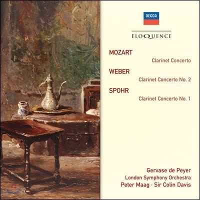 Gervase de Peyer / Colin Davis 모차르트: 클라리넷 협주곡 / 베버: 클라리넷 협주곡 2번 / 슈포어: 협주곡 1번 (Mozart / Weber / Spohr: Clarinet Concertos) 제르바즈 드 페이에, 콜린 데이비스