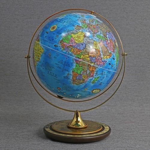 [맵소프트] 30cm 타임 원목 지구본 / 세계시차 고급 인테리어 360도 회전 공전
