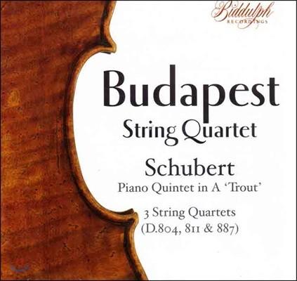 Budapest String Quartet 부다페스트 현악 사중주단이 연주하는 슈베르트: 피아노 오중주 '송어', 사중주 13-15번 (Schubert: Piano Quintet 'Trout' D.667, String Quartets D.804, 811 & 887)