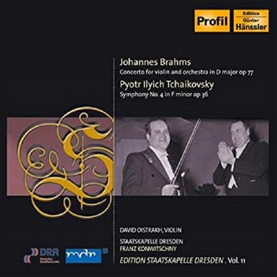 브람스: 바이올린 협주곡, 차이코프스키: 교향곡 4번 (Brahms: Violin Concerto Op.77, Tchaikovsky: Symphony No.4 Op.36) (Edition Staatskapelle Dresden, Vol. 11) - David Oistrakh