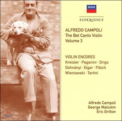 Alfredo Campoli 알프레도 캄폴리 벨 칸토 바이올린 3집 - 앙코르 (The Bel Canto Violin Vol.3 - Violin Encores)