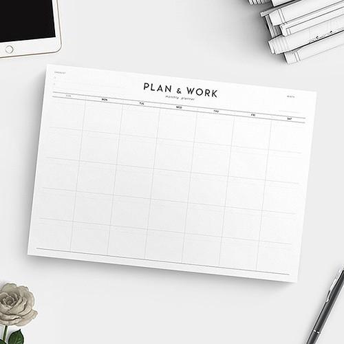 PLAN & WORK monthly planner