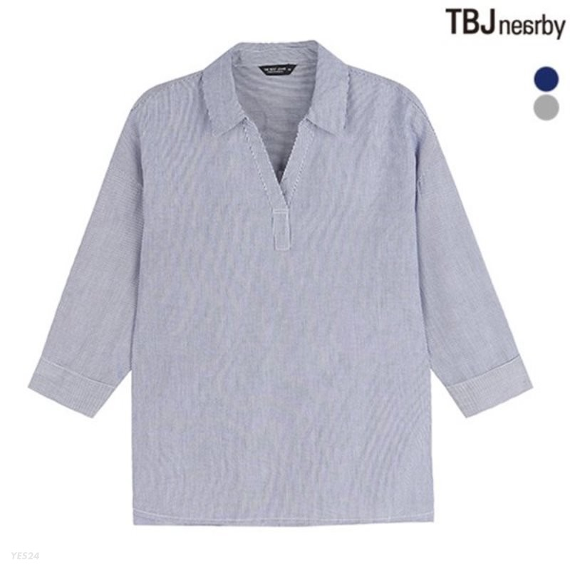 [TBJ]여성 7부 헨리넥 스트라이프 셔츠(T183SH500P)
