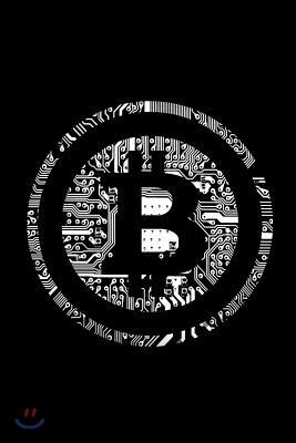 Bitcoin Notebook: White Btc Crypto LOGO Design Small 6 X 9
