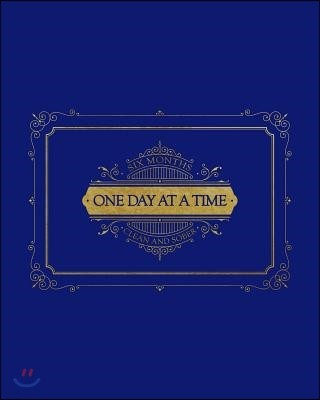 Six Months Clean and Sober - One Day at a Time: Bold Blue and Gold Theme to Celebrate Sobriety - This Prompted Journal Helps Work Through the Steps on