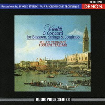 비발디: 5개의 바순과 현을 위한 협주곡 (Vivaldi: 5 Concertos For Bassoon & Strings) (HQCD)(일본반) - Milan Turkovic