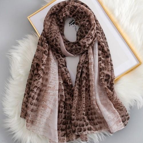 에리엉 여성 호피무늬 롱 스카프