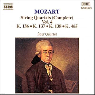 모차르트 : 현악 사중주 19번 '불협화음', 디베르티멘토 '잘츠부르크 교향곡' (Mozart : Complete String Quartets Vol.4 - No.19 K.465 'Dissonance', Divertimento 'salzburg Symphony') - Eder Quartet