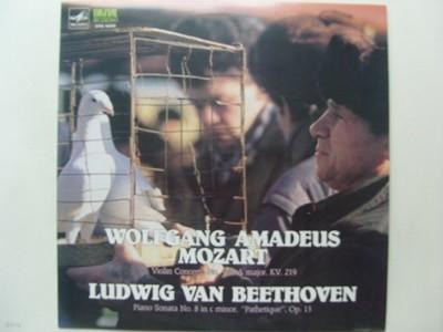 LP(엘피 레코드) 모짜르트: 바이올린 협주곡 5번, 베토벤: 피아노 소나타 8번 비창- 보리스 구트니코프 / 에밀 길렐스
