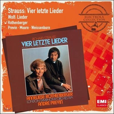 R.슈트라우스 : 4개의 마지막 노래, 오케스트라 반주 가곡 - 로텐베르거/무어/프레빈
