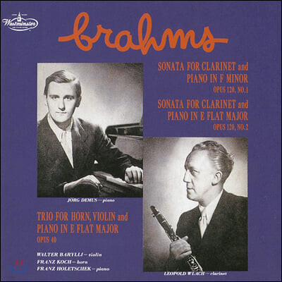 Leopold Wlach 브람스: 클라리넷 소나타, 호른 3중주 (Brahms: Clarinet Sonata Op.120. Horn Trio Op.40)