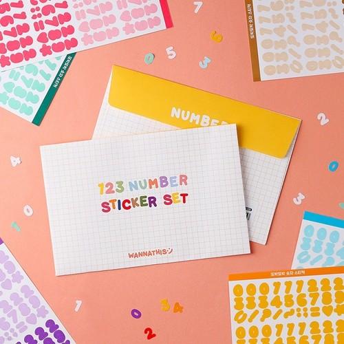 또박또박 숫자 스티커 10가지 컬러 세트