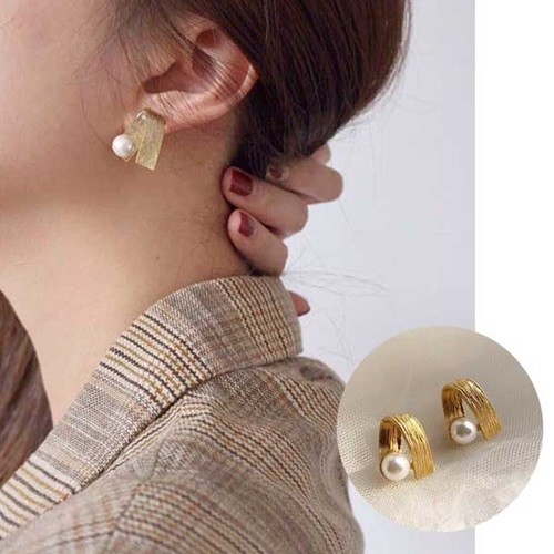 리플 진주 포인트 여성 귀걸이