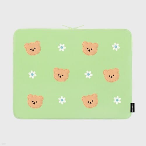 Dot flower bear-mint-15inch notebook pouch(15인치 노트북파우치)