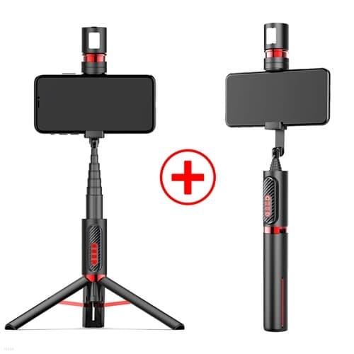 블루투스 무선 리모컨 LED 줌 확대 전환 삼각대 여행용 셀카봉 1+1