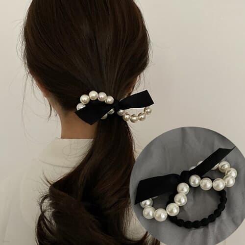 펄유 진주 리본 포인트 머리끈