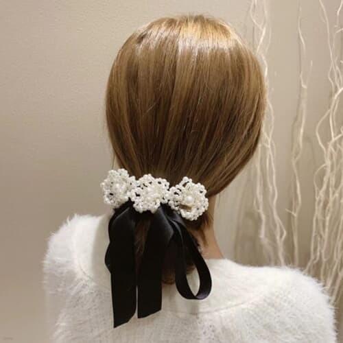 샤롯 쓰리꽃 리본 머리끈 헤어핀 머리핀