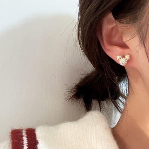 곰곰 미니사이즈 곰돌이 큐빅 여성 귀걸이
