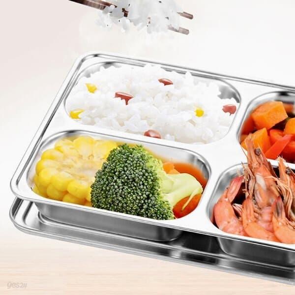 쿡앤조이 4구 뚜껑 스텐 식판 캠핑 다이어트 배식판