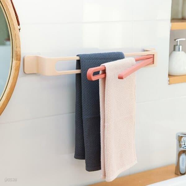 주방 욕실 회전 3단 수건걸이 화장실 접착식 타월거치