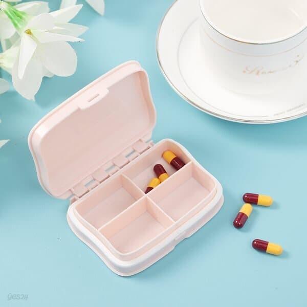 히포 4칸 알약케이스 비타민 영양제 휴대약통 핑크