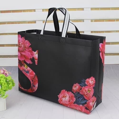 플라워 부직포 가방(블랙) (42x31cm) 선물가방