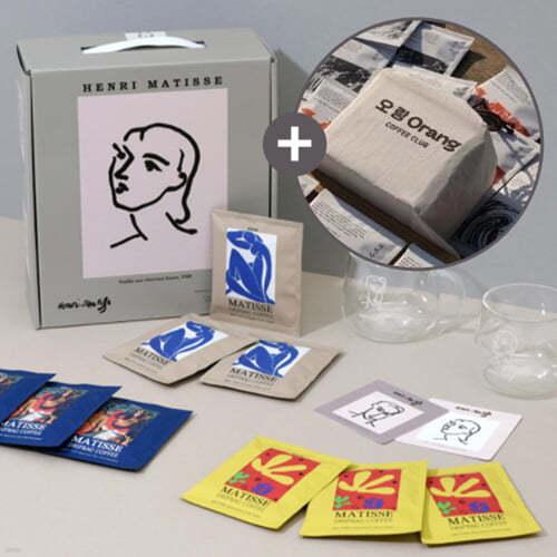 오랑오랑 -마티스 드립백9개+머그잔2개 선물세트 + 오랑오랑 YAC 커피클럽 드립백 Drip Bag (15개)