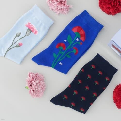 카네이션 양말+미니 화환 조립 키트 (어버이날 선물, 스승의 날 선물) (남여공용)