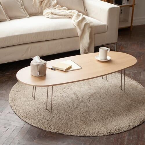 국내제작 타원형 우드 접이식 테이블 1200사이즈 거실테이블 좌식식탁 책상 다과상 다용도
