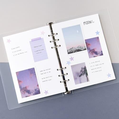 A5 6공 스크랩북 베이직-블랙 화이트 크라프트 ...