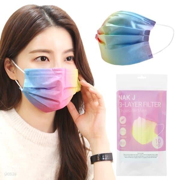 일회용 3중 MB필터 컬러 마스크 레인보우 마스크 30매 무지개 패션