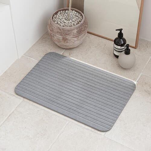 스트라이프 디자인 3D 음각 규조토 발매트 흡수빠른 화장실 욕실 매트 L