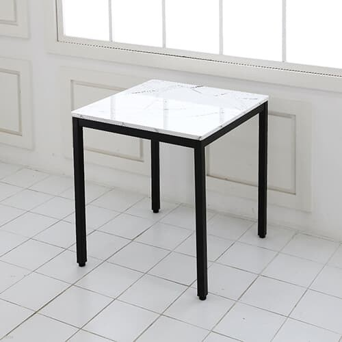 더조아가구 사각 마블 대리석패턴 티테이블 600x600 30각철제다리